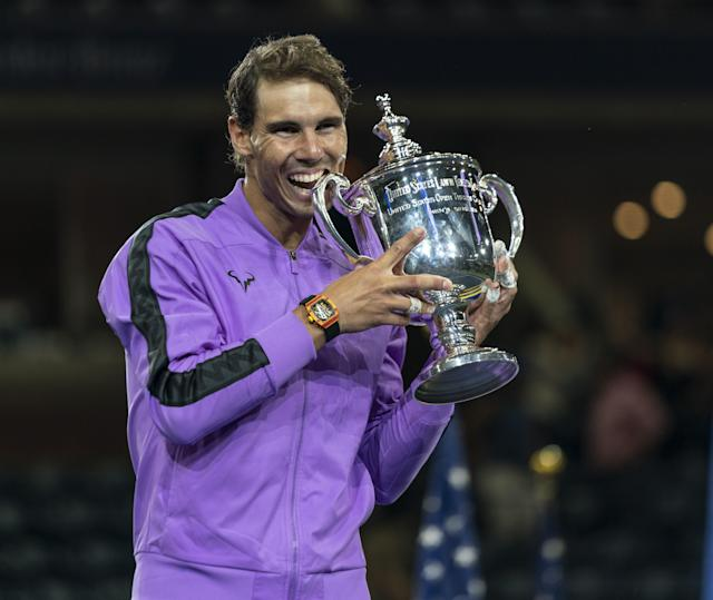 """Find out where you can grab <a class=""""link rapid-noclick-resp"""" href=""""/soccer/players/399132/"""" data-ylk=""""slk:Rafael Nadal"""">Rafael Nadal</a>'s winning US Open look. (Photo by Lev Radin/Anadolu Agency via Getty Images)"""