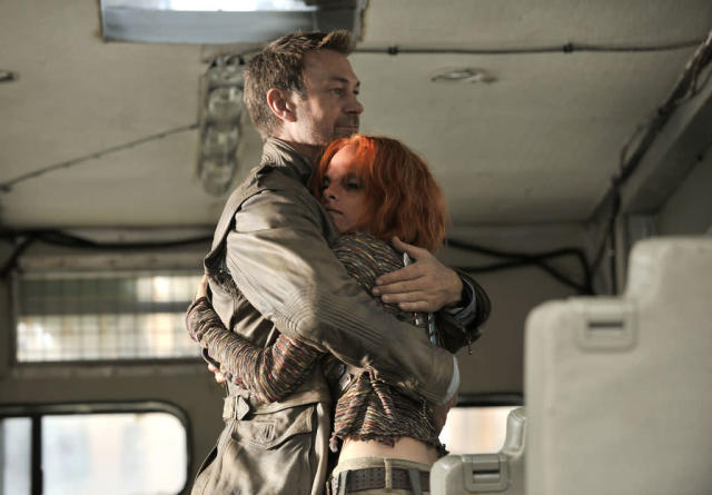 "Grant Bowler as Joshua Nolan and Stephanie Leonidas as Irisa in the ""Defiance"" episode, ""The Serpent's Egg."""