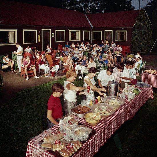 A family backyard buffet photographed in 1960