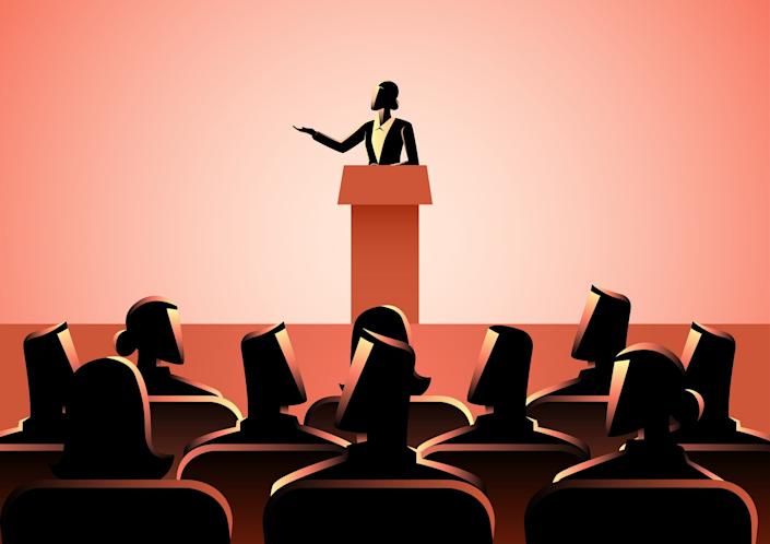 Business concept illustration of businesswoman giving a speech on stage. Audience, seminar, conference theme