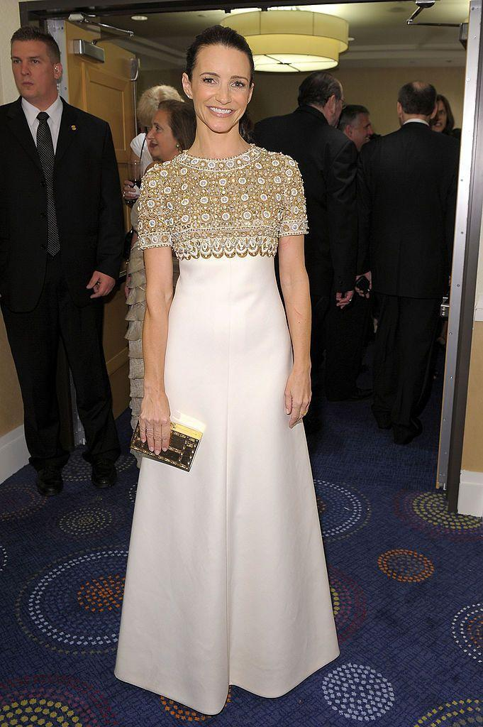 <p>The Sex And The City star wore a white and gold vintage Pierre Balmain haute couture dress from 1969.</p>