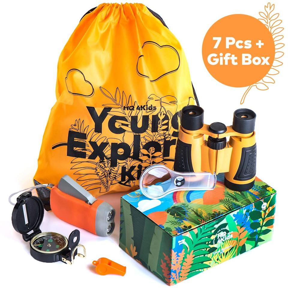 """<p>Little ones will have fun playing and learning about the outdoors when they have this <a href=""""https://www.popsugar.com/buy/Outdoor-Adventure-Kit-Kids-460773?p_name=Outdoor%20Adventure%20Kit%20for%20Kids&retailer=amazon.com&pid=460773&price=17&evar1=moms%3Aus&evar9=46285065&evar98=https%3A%2F%2Fwww.popsugar.com%2Fphoto-gallery%2F46285065%2Fimage%2F46285516%2FOutdoor-Adventure-Kit-Kids&list1=shopping%2Ctoys&prop13=api&pdata=1"""" rel=""""nofollow"""" data-shoppable-link=""""1"""" target=""""_blank"""" class=""""ga-track"""" data-ga-category=""""Related"""" data-ga-label=""""https://www.amazon.com/HQ4Kids-Binoculars-Magnifying-Flashlight-Educational/dp/B079K5BXFK/ref=sr_1_1_sspa?crid=1C2QY7MHQ3HF7&amp;keywords=gifts+for+5+year+olds&amp;qid=1560887971&amp;s=gateway&amp;sprefix=gifts+for+5%2Caps%2C127&amp;sr=8-1-spons&amp;psc=1"""" data-ga-action=""""In-Line Links"""">Outdoor Adventure Kit for Kids</a> ($17). It comes with binoculars, a compass, a flashlight, and more.</p>"""