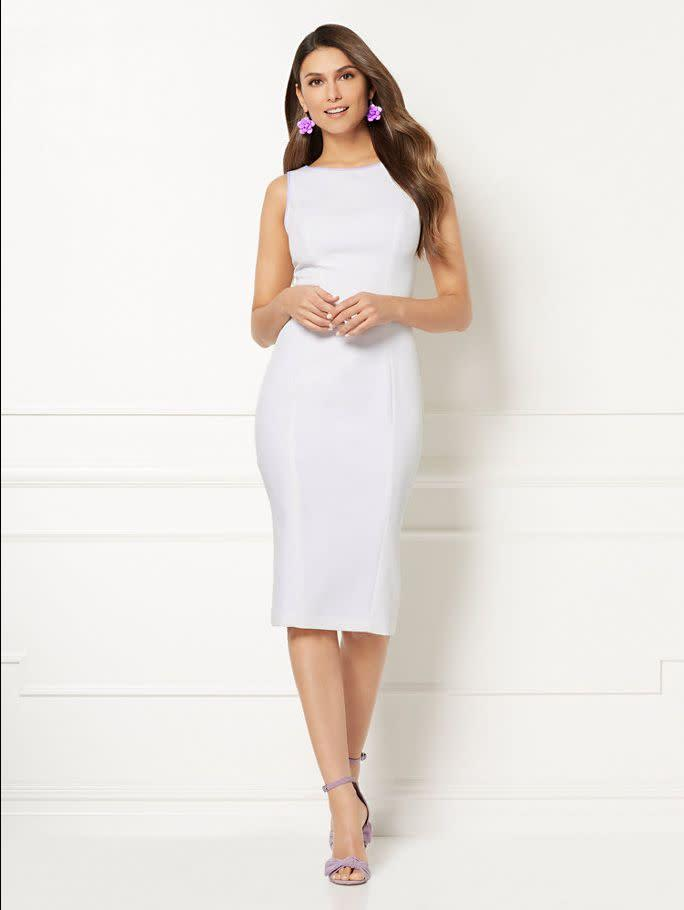 "<strong><a href=""https://www.nyandcompany.com/Eva-Mendes-Collection-Sonja-Sheath-Dress/A-prod13740008/"" rel=""nofollow noopener"" target=""_blank"" data-ylk=""slk:New York &amp; Company Eva Mendes Collection Sonja sheath dress"" class=""link rapid-noclick-resp"">New York &amp; Company Eva Mendes Collection Sonja sheath dress</a>, $24.99</strong>"