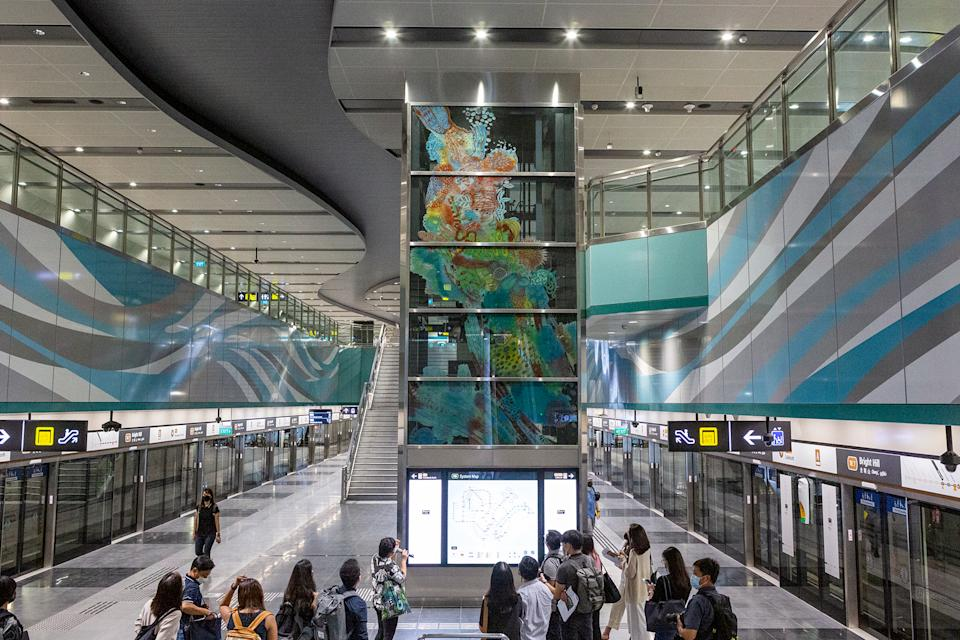 """""""A Kaleidoscopic Nature"""" by anGie Seah seen at Bright Hill MRT station. (PHOTO: Dhany Osman / Yahoo News Singapore)"""