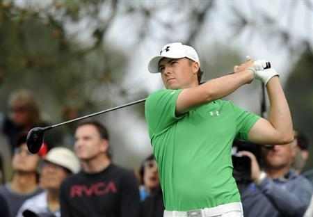 Jan 24, 2014; La Jolla, CA, USA; Jordan Spieth tees off on the fifth hole on the North Course during the second round of the Farmers Insurance Open golf tournament at Torrey Pines Municipal Golf Course. Mandatory Credit: Christopher Hanewinckel-USA TODAY