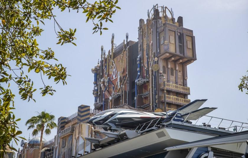 Anaheim, CA - June 02: A media preview of the Quinjet resting high atop the Avengers Headquarters building in foreground and Guardians of the Galaxy - Mission: BREAKOUT! In the background at Avengers Campus at California Adventure on Wednesday, June 2, 2021 in Anaheim, CA. PHOTOS ARE EMBARGOED UNTIL 8PM WEDNESDAY, JUNE 2. (Allen J. Schaben / Los Angeles Times)