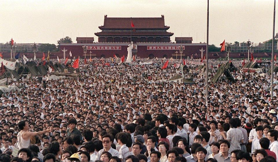Surging crowds fill Beijing's Tiananmen Square in 1989 to protest against corruption and in favour of greater political freedoms. Photo: AFP