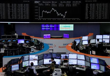 The German share price index, DAX board, is seen at the stock exchange in Frankfurt, Germany, March 16, 2018.    REUTERS/Staff/Remote
