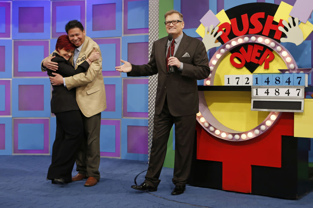 Sharon literally got swept off her feet when a contestant picked her up and spun her around 3 times when he won. Most people don't like to be hoisted into the air, but she was a great sport.  Sharon was on the show raising money for her colon cancer charity.  The sweetest moment of that episode was when she bonded with one of our contestants who survived colon cancer.