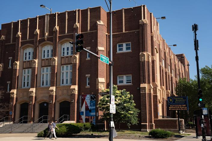 The exterior of Roosevelt High School in Albany Park.