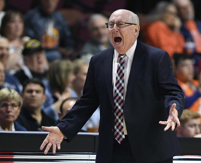 FILE - In this June 11, 2019, file photo, Washington Mystics coach Mike Thibault argues with the officials during the second half of a WNBA basketball game against the Connecticut Sun in Uncasville, Conn. Thibault was chosen as the Associated Press WNBA coach of the year, Wednesday, Sept. 11, 2019. (Sean D. Elliot/The Day via AP, File)