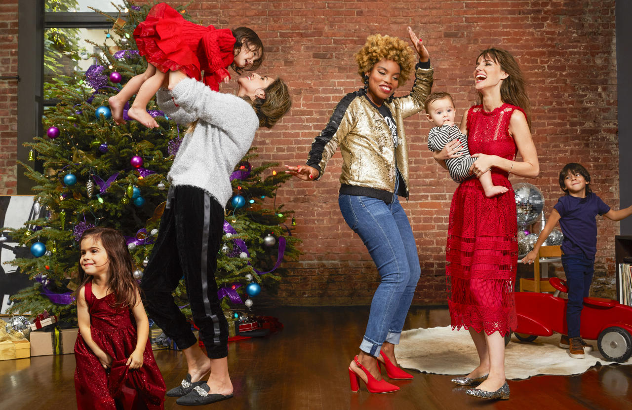 """<p>Fancy versions of pieces you love and live in take the work out of getting dressed up for the holidays. For instance, velvet spiffs up a pair of joggers while rhinestones add glam to slides. Together, they're dance-party ready. """"Separately, I'd easily dress them down with a white tee or jeans,"""" Nicole says.</p><p>LaTonya thinks this time of year is great for experimenting with your clothes too. """"Pairing a serious graphic tee with a glitzy bomber and heels is my way of having fun but staying true to myself,"""" she says. But you don't have to wear heels to feel fancy: sparkly flats do the trick when worn with a fit-and-flare dress, and are practical enough """"to run around with my kids all day,"""" says Erin.</p><p>ON NICOLE: SWEATER, $20, <a rel=""""nofollow"""" href=""""https://www.forever21.com/us/shop/Catalog/Product/F21/top_blouses_b/2000227987/05""""><em>forever21.com</em></a> for similar. JOGGERS, $148, <a rel=""""nofollow"""" href=""""http://www.splendid.com/crushed-velvet-jogger/d/13110C35869""""><em>splendid.com</em></a>. Badgley Mischka MULES, $198, <a rel=""""nofollow"""" href=""""https://www.zappos.com/p/badgley-mischka-wade-black-velvet/product/9012623/color/113""""><em>zappos.com</em></a>.</p><p> ON LATONYA: EARRINGS, $45,<em> </em><a rel=""""nofollow"""" href=""""https://jardinjewelry.com/collections/earrings/products/four-tier-black-sequin-drop-earrings""""><em>jardinjewelry.com</em></a>. JACKET, $188, <a rel=""""nofollow"""" href=""""http://www.blanknyc.com/store/women/jackets-and-vests/jacket-350.html""""><em>blanknyc.com</em></a>. Christian Siriano TOP, $35 (up<br>to size XL), $36 (size 2XL), <em><a rel=""""nofollow"""" href=""""https://leggoyourego.merchdirect.com/products/59729-people-are-people-womens-sizing"""">leggoyourego.merchdirect.com</a></em>. Citizens of Humanity JEANS, $218, <a rel=""""nofollow"""" href=""""https://www.anthropologie.com/shop/citizens-of-humanity-jazmin-high-rise-cropped-jeans""""><em>anthropologie.com</em></a>. Qupid HEELS, $32,<br><a rel=""""nofollow"""" href=""""https://www.lulus.com/products/milan-red-nubuck-sli"""