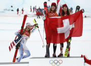 <p>USA's silver medalist Mikaela Shiffrin, left, poses with Switzerland's gold and silver medalists Michelle Gisin and Wendy Holdener after the Women's Combined Slalom at the PyeongChang 2018 Winter Olympics on Feb. 22, 2018.<br> (AP Photo/Christophe Ena) </p>
