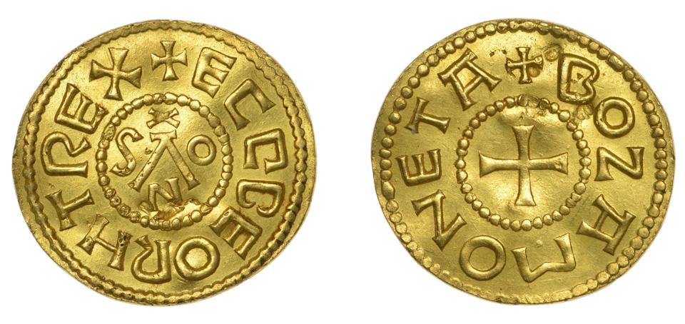 The Gold Penny, or Mancus of 30 Pence, was struck during the time of Ecgberht, King of the West Saxons between 802 and 839 (PA)