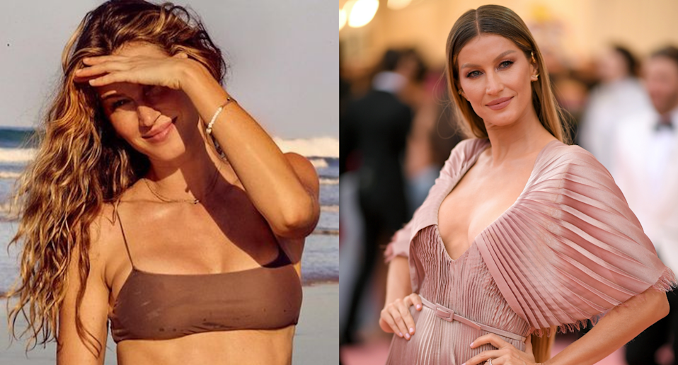 Gisele Bündchen stunned fans with her latest sultry bikini photo. Images via Instagram/Gisele, Getty Images.
