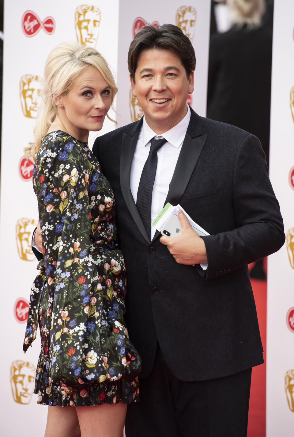 LONDON, UNITED KINGDOM - 2019/05/12: Michael McIntyre and Kitty McIntyre are seen on the red carpet during the Virgin Media British Academy Television Awards at The Royal Festival Hall in London. (Photo by Gary Mitchell/SOPA Images/LightRocket via Getty Images)