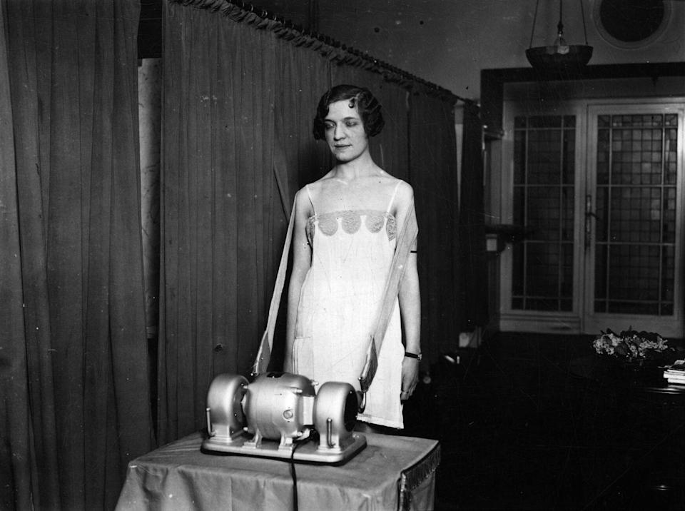 "<p>Overall, the 1920s wasn't a huge time for exercise. There was an emphasis on stretching and using machines like this one instead of being overly athletic. This is like a <a href=""https://www.telegraph.co.uk/women/womens-life/10555965/New-Year-diet-Womens-wacky-weight-loss-regimes-from-the-early-1920s-and-beyond.html?frame=2783533"" rel=""nofollow noopener"" target=""_blank"" data-ylk=""slk:Vibo-Slim"" class=""link rapid-noclick-resp"">Vibo-Slim</a>, a vibrating machine that was used to ""slim"" the body.<br></p>"