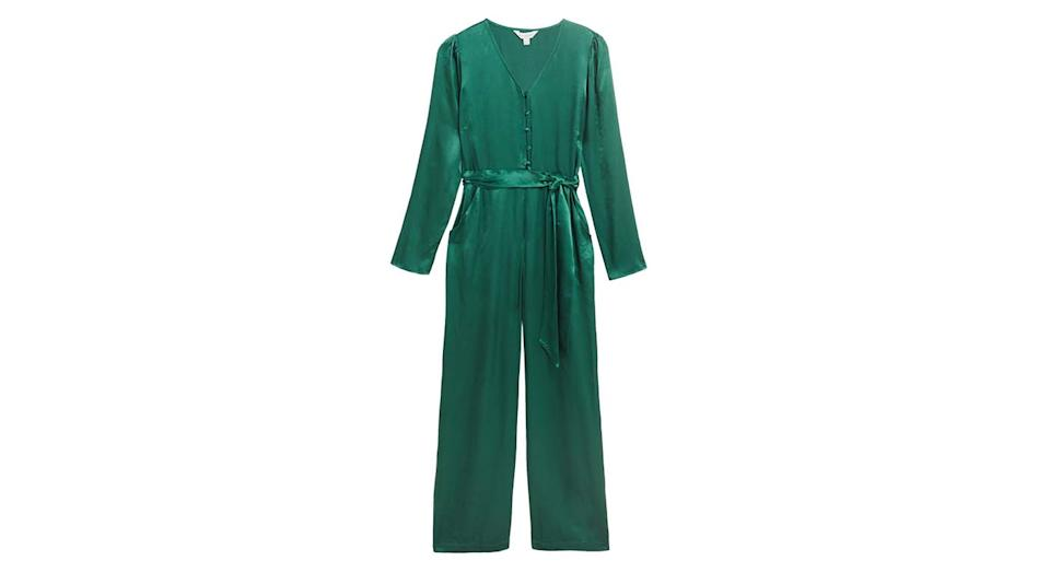 Floral Collared Belted Wide Leg Jumpsuit