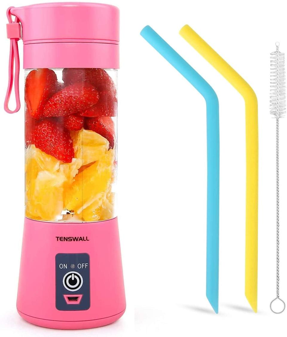<p>Make smoothies, protein shakes, and so much more on the go with the <span>Tenswall Portable Blender</span> ($22). You can charge it anywhere and have a refreshing and healthy drink at any time instead of going into an overprices smoothie shop! It comes with silicon straws as well! </p>