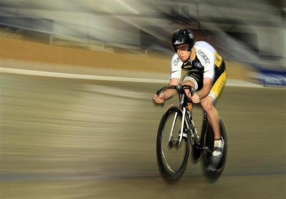 Track cycling sprinter Kevin Mansker of the U.S. trains for the London 2012 Olympics in Carson, near Los Angeles, California, April 11, 2012.