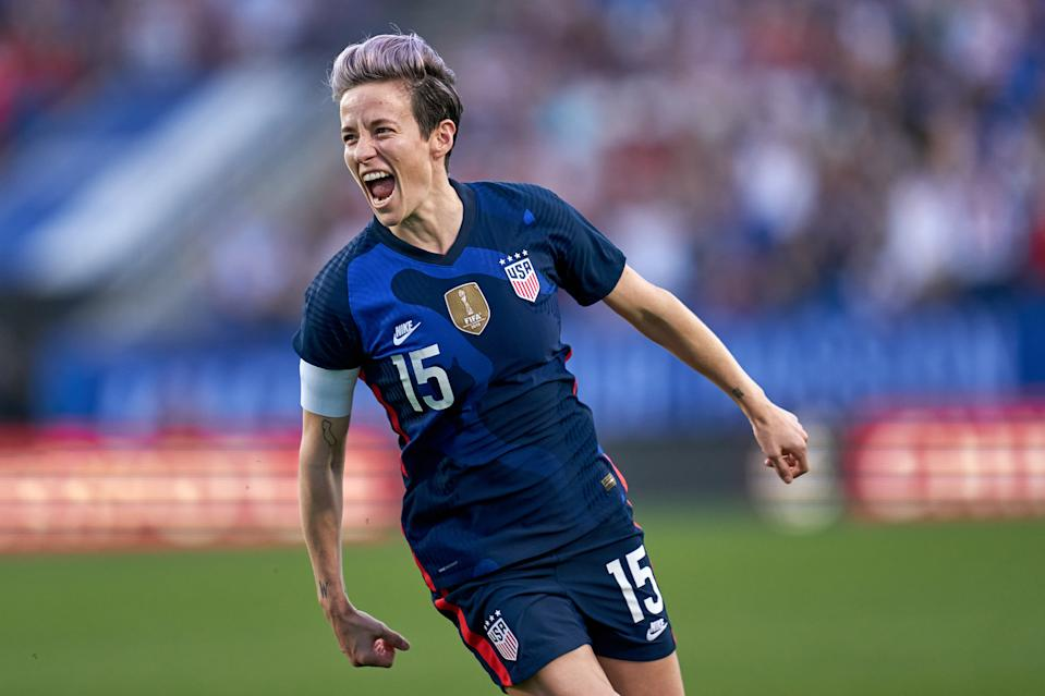 FRISCO, TX - MARCH 11: United States forward Megan Rapinoe (15) celebrates with teammates and fans after scoring a goal during the SheBelieves Cup match between United States and Japan on March 11, 2020, at Toyota Stadium in Frisco, TX. (Photo by Robin Alam/Icon Sportswire via Getty Images)