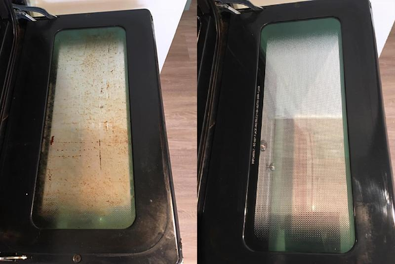 Oven door covered in grime and dirt (left) and clear and clean 9right) using tablet dishwashing cleaning method