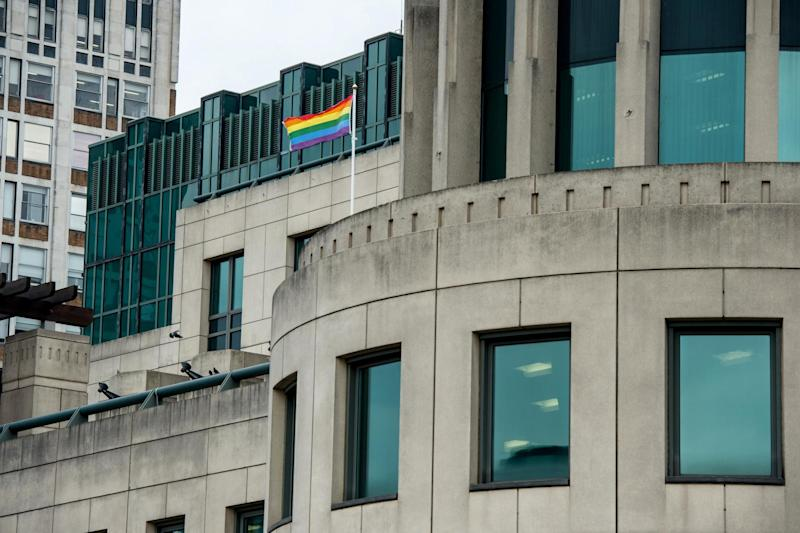 A rainbow flag flies outside the MI6 building in support of International Day Against Homophobia on May 17 last year: Getty Images