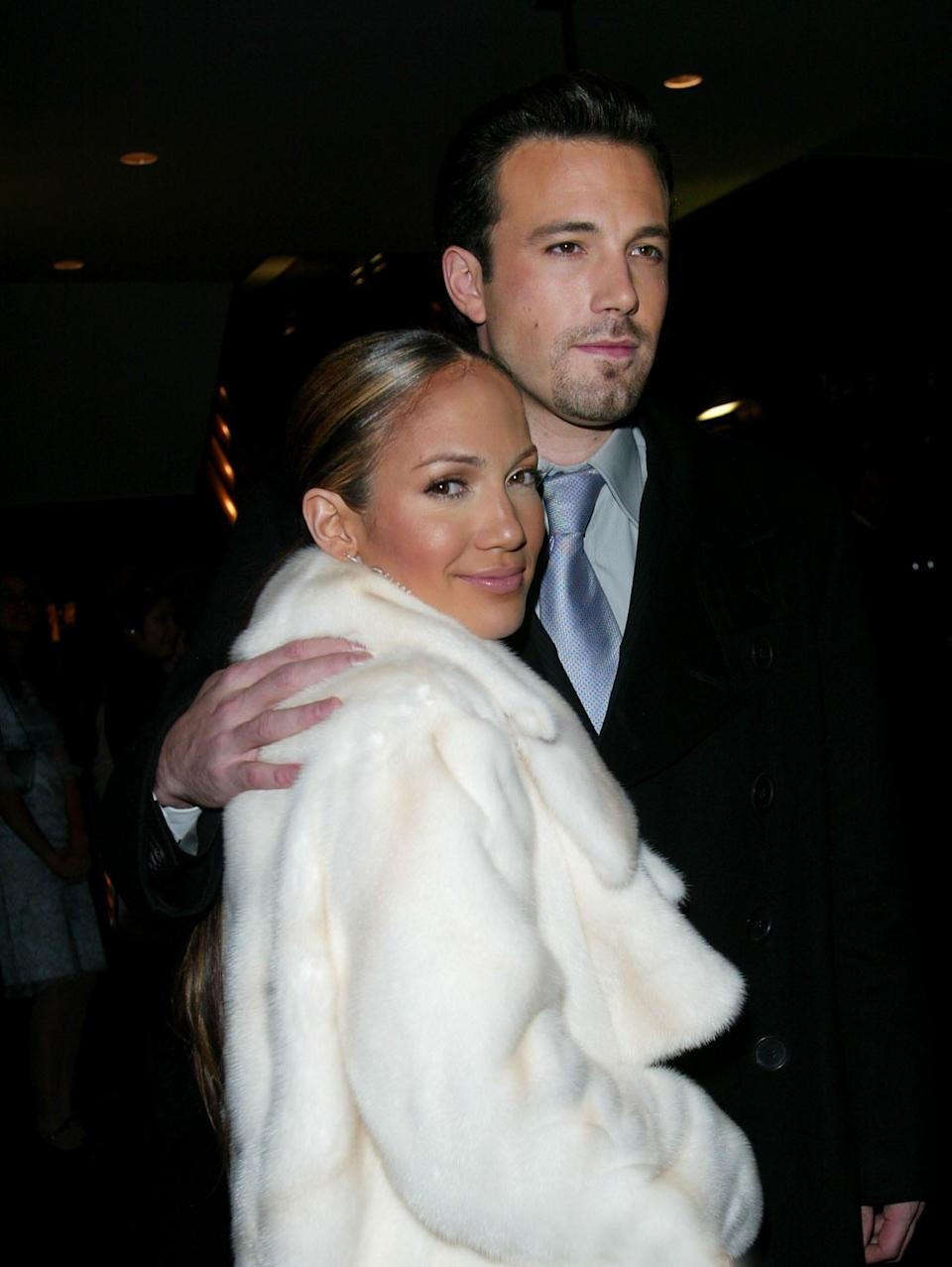 """Jennifer Lopez and Ben Affleck at the 2002 premiere of """"Maid in Manhattan."""""""