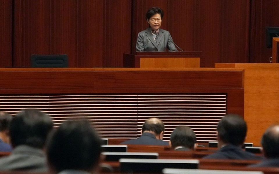Carrie Lam takes questions from pro-establishment lawmakers in Legco on Thursday. Photo: Felix Wong