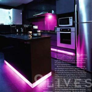 Magazine image of 9 Lives kitchen, with glowing purple bands