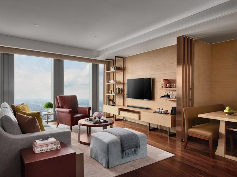 A look inside of the bedrooms of the Rosewood Guangzhou, the world's tallest five-star hotel.