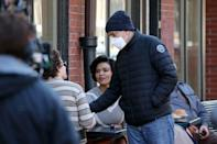 <p>Clooney directs actors on the set of his film <em>The Tender Bar </em>in Boston, Massachusetts on March 10, 2021.</p>