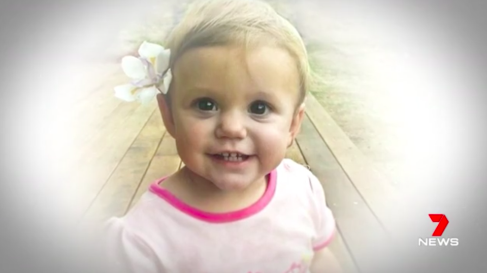 Isabella Rees died aged 14 months after swallowing a button battery in 2015. Source: 7News