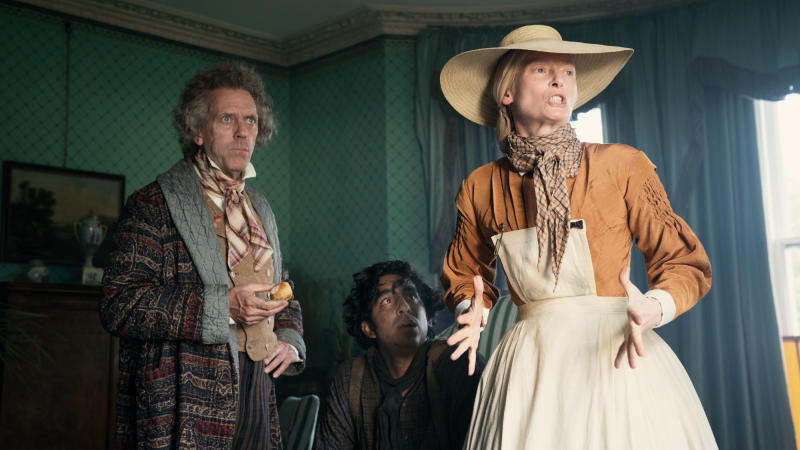 Hugh Laurie, Dev Patel and Tilda Swinton in 'The Personal History of David Copperfield'. (Credit: Lionsgate)