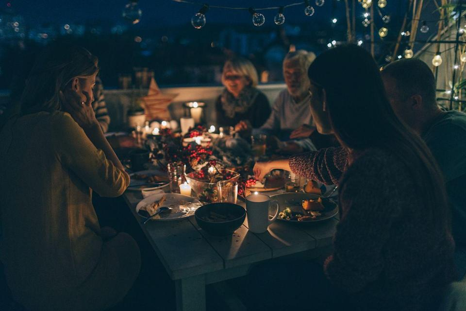 <p>If you live in a climate that will support it, consider eating Thanksgiving dinner outside. Being closer to nature reminds you of what's important—a literal breath of fresh air. </p>