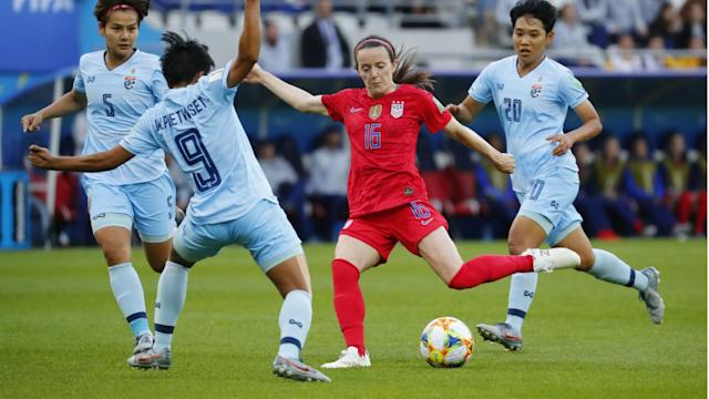 Only 20 minutes into Rose Lavelle's World Cup debut, she recorded the first goal of her World Cup career. Not too long after she scored her second. Then it was Mallory Pugh who got involved in the scoring.