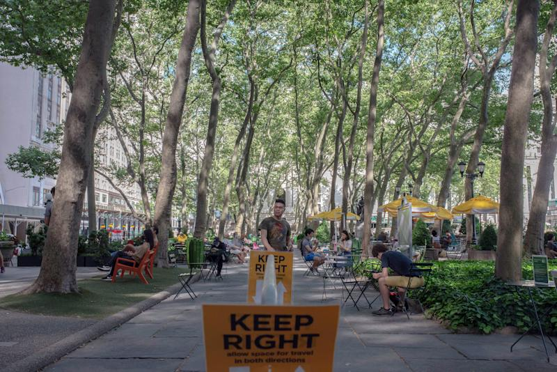 Bryant Park in midtown Manhattan, on June 22, 2020, is limiting bathroom use and directing foot traffic, among other measures, to try to maintain social distancing. (September Dawn Bottoms/The New York Times)