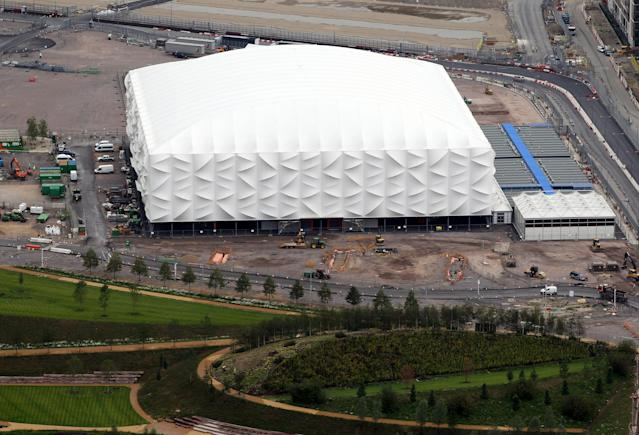 LONDON, ENGLAND - JULY 26: Aerial view of the Basketball Arena which will host Basketball events during the London 2012 Olympic Games on July 26, 2011 in London, England. (Photo by Tom Shaw/Getty Images)