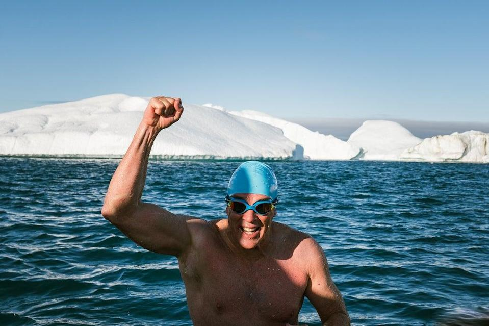 Pugh celebrates the completion of his remarkable climate swim (Olle Nordell)