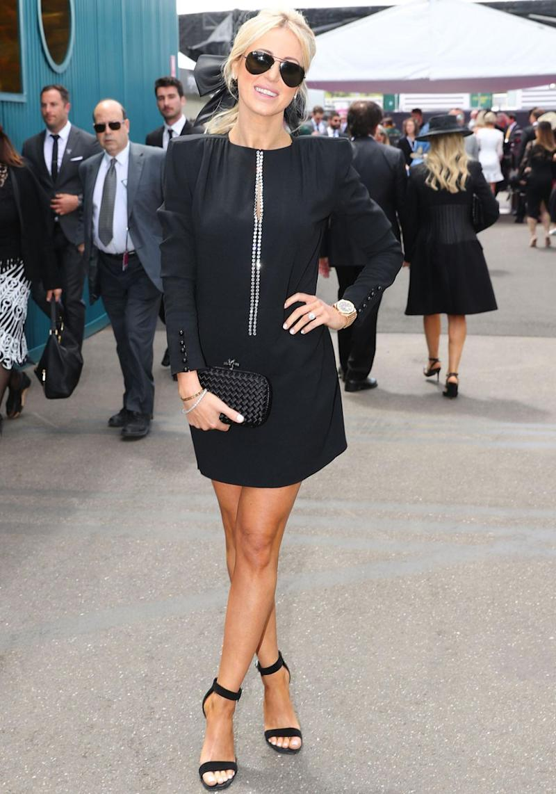 Roxy stunned in a sleek black outfit for the first day of the official Melbourne Cup carnival at Flemington Racecourse. Source: Getty