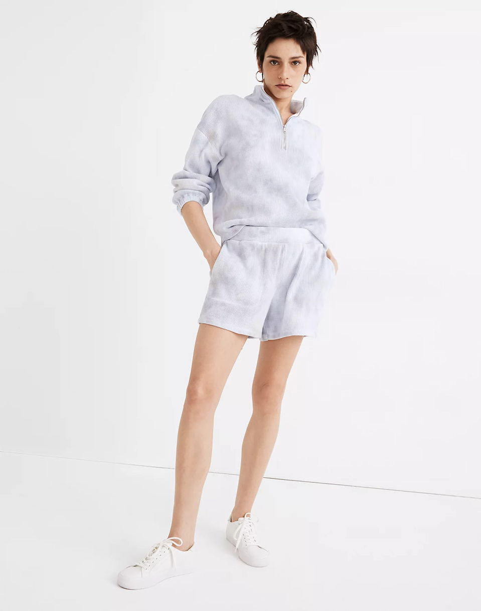 """<h2>Madewell</h2><br><br><strong>MWL</strong> Waffle Pull-On Sweatshorts, $, available at <a href=""""https://go.skimresources.com/?id=30283X879131&url=https%3A%2F%2Fwww.madewell.com%2Fmwl-waffle-pull-on-sweatshorts-in-tie-dye-MD320.html"""" rel=""""nofollow noopener"""" target=""""_blank"""" data-ylk=""""slk:Madewell"""" class=""""link rapid-noclick-resp"""">Madewell</a><br><br><strong>MWL</strong> Waffle Half-Zip Shirttail Sweatshirt, $, available at <a href=""""https://go.skimresources.com/?id=30283X879131&url=https%3A%2F%2Fwww.madewell.com%2Fmwl-waffle-half-zip-shirttail-sweatshirt-in-tie-dye-MD318.html"""" rel=""""nofollow noopener"""" target=""""_blank"""" data-ylk=""""slk:Madewell"""" class=""""link rapid-noclick-resp"""">Madewell</a>"""