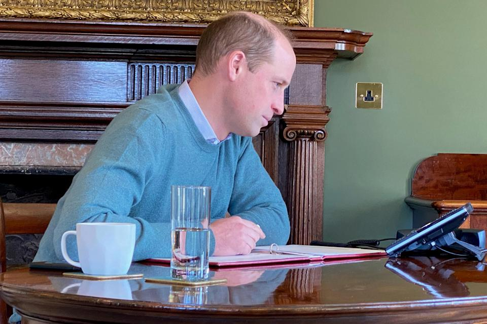 <p>Prince William on the call</p> (@KensingtonRoyal)