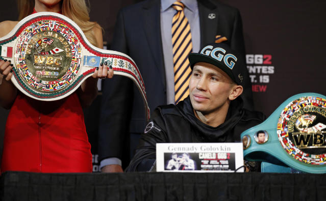 Gennady Golovkin listens during a news conference Wednesday, Sept. 12, 2018, in Las Vegas. Golovkin is scheduled to fight Canelo Alvarez in a title bout Saturday in Las Vegas. (AP Photo/John Locher)