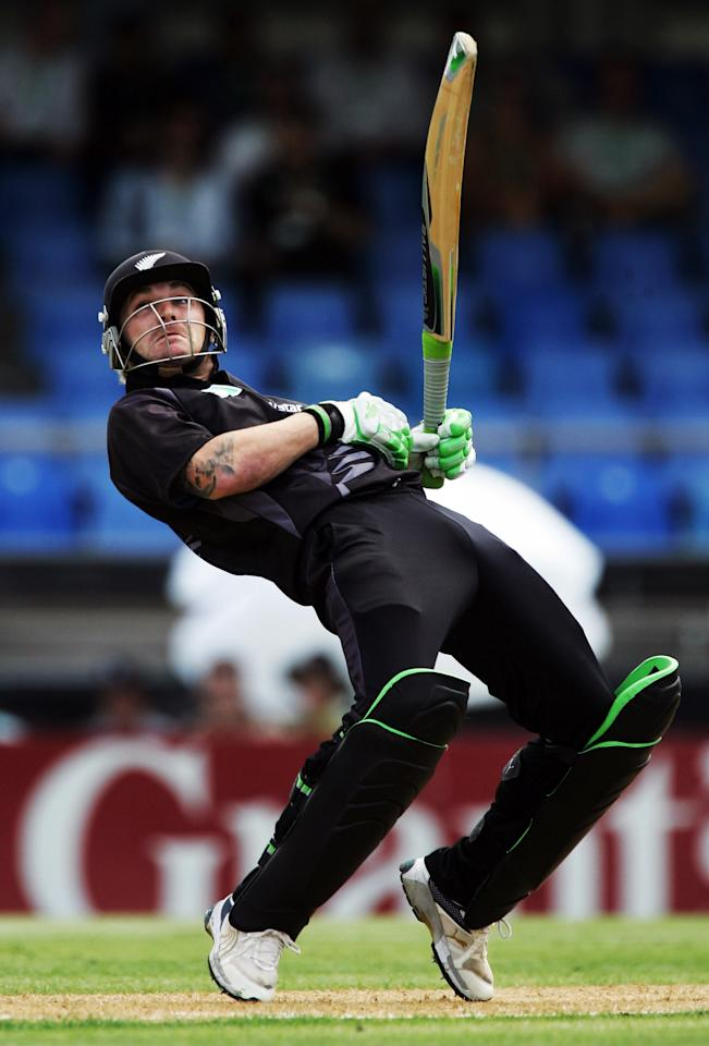 AUCKLAND, NEW ZEALAND - FEBRUARY 15: Brendon McCullum of New Zealand gets an edge on the ball to be caught behind during the third one day international match between the New Zealand Black Caps and England held at Eden Park February 15, 2008 in Auckland, New Zealand.  (Photo by Phil Walter/Getty Images)