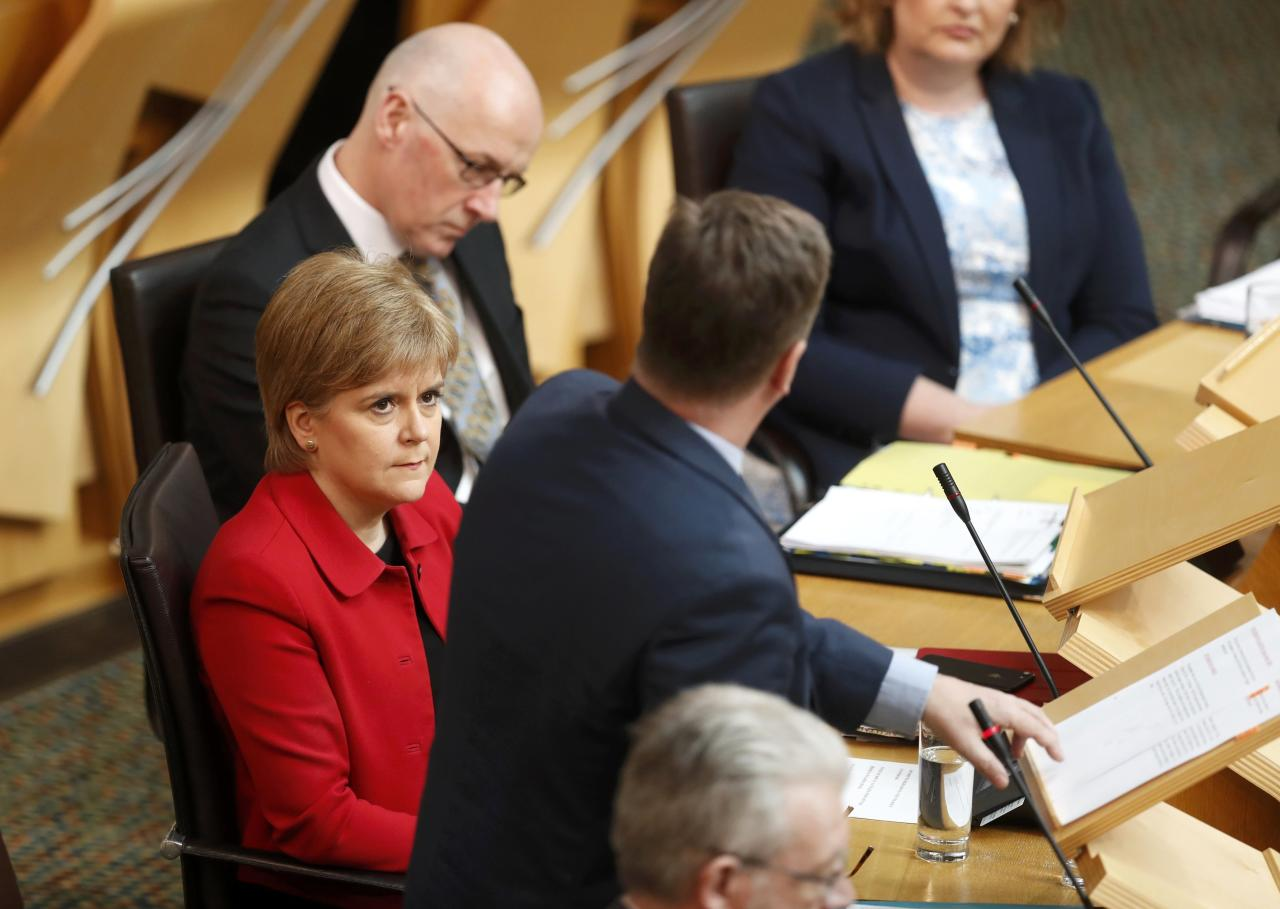 Scotland's First Minister Nicola Sturgeon attends a debate on a second referendum on independence at Scotland's Parliament in Holyrood, Edinburgh, Britain, March 28, 2017. REUTERS/Russell Cheyne