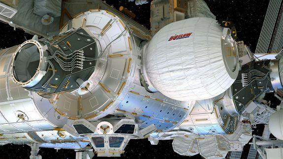 Bigelow's BEAM capsule attached to the International Space Station.