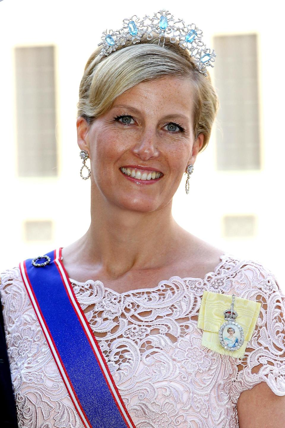 <p>Worn by the Queen during a tour of Canada in 1970, the aquamarine tiara stayed in the royal vault until the monarch's daughter-in-law Sophie, Countess of Wessex wore it to the pre-wedding dinner of the Hereditary Grand Duke of Luxembourg in 2012. The piece was also worn by Sophie at the 2013 wedding of Princess Madeleine of Sweden and a state banquet in 2014, leading many to assume it is on permanent loan to the Queen's daughter-in-law.</p>