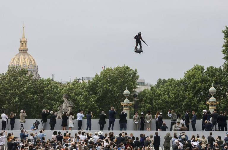 Franky Zapata flew above the Champs-Elysees boulevard in Paris for the annual July 14 parade (AFP Photo/ludovic MARIN)