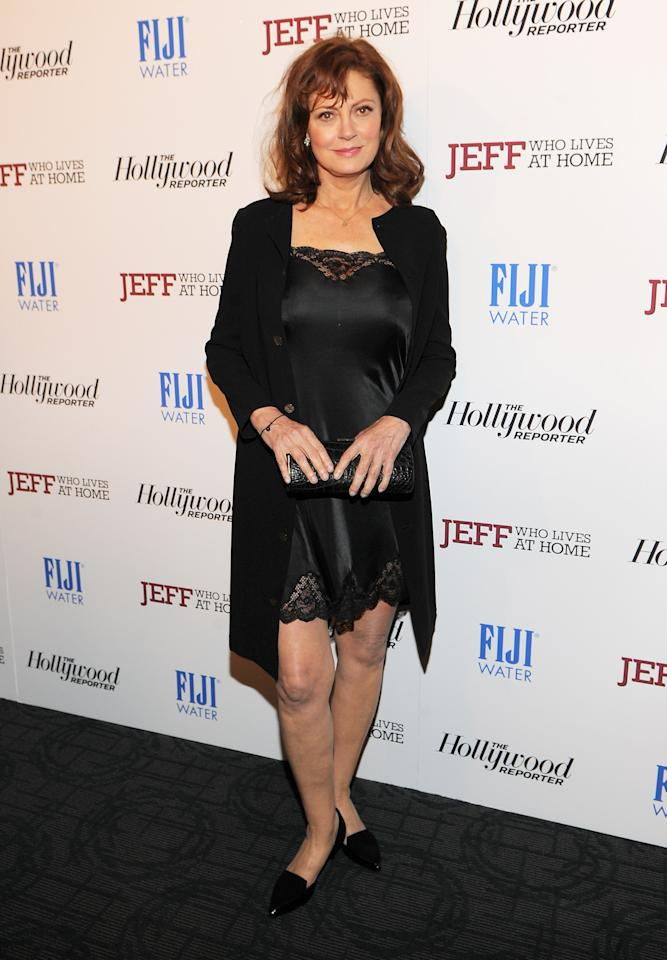 "NEW YORK, NY - MARCH 12:  Actress Susan Sarandon attends the ""Jeff, Who Lives at Home"" screening hosted by The Hollywood Reporter and FIJI Water at the Sunshine Landmark on March 12, 2012 in New York City.  (Photo by Larry Busacca/Getty Images)"