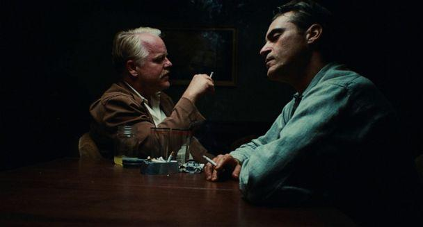 PHOTO: Philip Seymour Hoffman, left, and Joaquin Phoenix appear in a scene of 'The Master.' (The Weinstein Company)